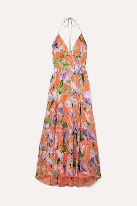 Alice + Olivia Hetty Floral-print Flocked Satin Maxi Dress - Coral