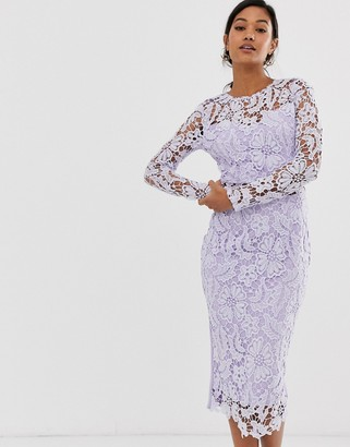 AX Paris lilac corded lace midi dress with sheer top-Purple