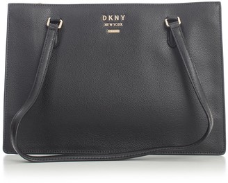 DKNY Whitney Lg Cntr Zip Tote Hermine Pebble Split Leather