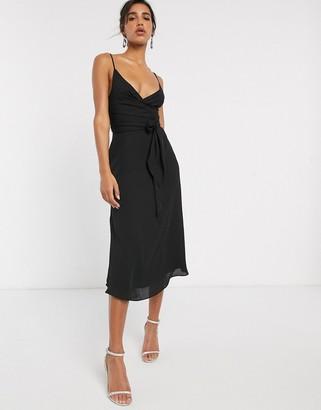 Asos Design DESIGN cami wrap midi dress with tie waist-Black