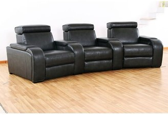 Wildon Home Meadows Leather Home Theater (Row of 3 Reclining Type: Manual, Upholstery Color: Black