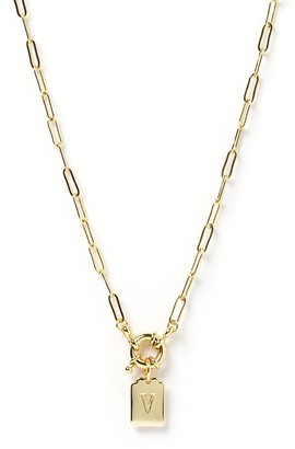 Arms Of Eve Letter Gold Tag Necklace V