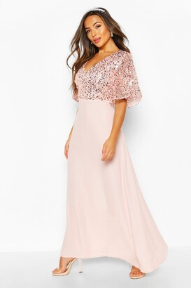 boohoo Petite Occasion Sequin Angel Sleeve Maxi Dress