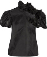 Reem Acra - Floral-appliquéd Silk-organza Blouse - Black