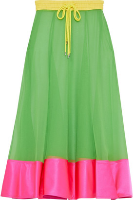 Prabal Gurung Satin-paneled Silk-georgette Midi Skirt