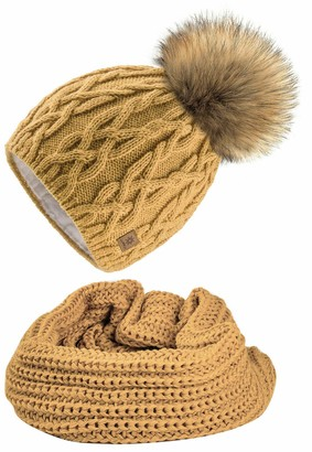 4sold Ladies Womens Beanie Warm Winter Bobble Faux Fur Pom Pom Wooly Full Liner Cossy - Set Model 1 Mustard 06