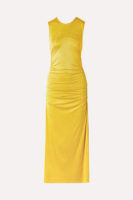 By Malene Birger Cutout Ruched Stretch-jersey Midi Dress - Yellow