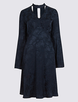 Limited Edition Jacquard Flared Sleeve Swing Dress