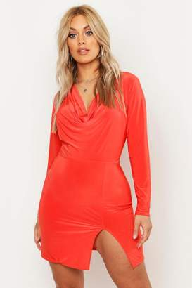 boohoo Plus Slinky Cowl Neck Bodycon Dress