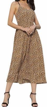 Liumilac Vneck Pleated Dress for Women Leopard Empire Waist A-Line Cocktail Dress -2 XL
