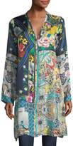 Johnny Was Multi-Print Silk Button-Front Cardigan Tunic, Petite