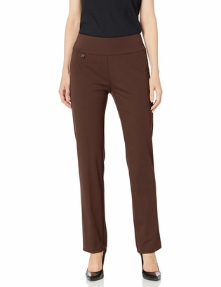 Slim Sation SLIM-SATION Women's Wide Band Pull On Narrow Leg Pant Faux Slant Front Packets