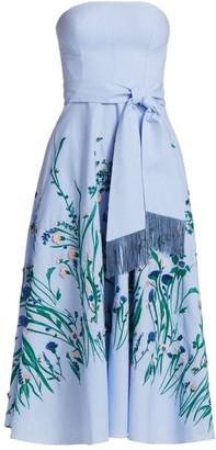 Lela Rose Floral-Embroidered Gingham Strapless Midi Dress