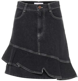 See by Chloe Ruffle denim miniskirt