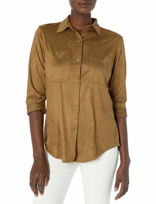 Chaps Women's Plus Size Soft Faux Suede Button Down Fashion Shirt
