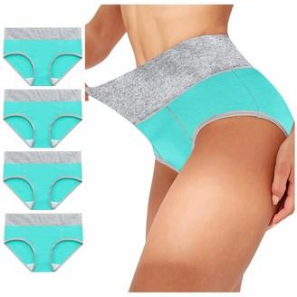 Aotifu Ladies High Waist Knickers Women's Cotton Briefs Underwear Full Back Coverage Panties Plus Size 4PC Blue