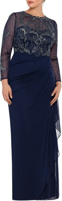 Xscape Evenings Long Sleeve Ruched Beaded Gown