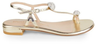 Stuart Weitzman Ballsoffire Embellished Metallic Leather Toe-Loop Sandals