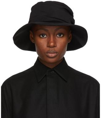 Y's Ys Black Wool Gabardine Panel Hat