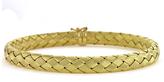 Ice Textured 18K Gold Flexible Basket-Weave Bangle Bracelet