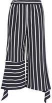 Goen J - Cropped Striped Cotton-blend Jersey Pants - Navy