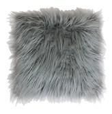 Thro Home Keller Faux Fur Mongolian 16x16 Pillow - Silver