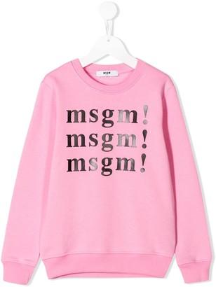 Msgm Kids Logo Crew Neck Sweatshirt