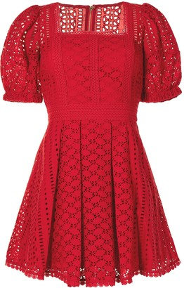 Self-Portrait Broderie Cotton Mini Dress