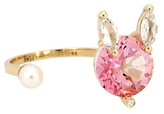 Delfina Delettrez Magic Puppy 18kt Yellow Gold With Topaz, Diamond And Pearl Ring