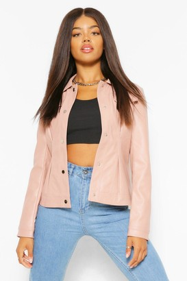 boohoo Fitted Collared Faux Leather Jacket