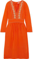 Vanessa Bruno Hervine Embroidered Silk Midi Dress - Orange