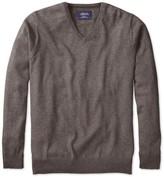 Charles Tyrwhitt Brown cotton cashmere v-neck sweater