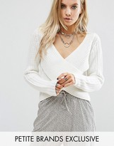 Noisy May Petite Wrap Front Sweater