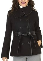 Mossimo® Black: Wool Jacket with Faux Leather Trim - Black