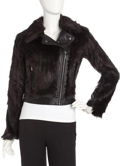 Romeo & Juliet Couture Faux-Fur Motorcycle Jacket