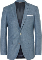 HUGO BOSS Blue Hutsons Slim-Fit Slub Virgin Wool and Silk-Blend Blazer