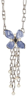 Alexis Bittar Faux-Pearl Studded Crystal Lucite Flower Pendant Chain-Link Necklace
