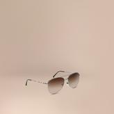 Burberry Check Arm Pilot Sunglasses, Grey