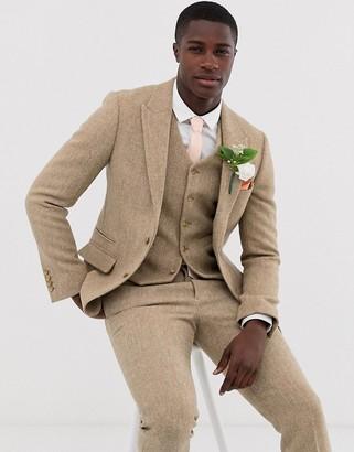 ASOS DESIGN wedding slim suit jacket in 100% wool Harris Tweed in camel