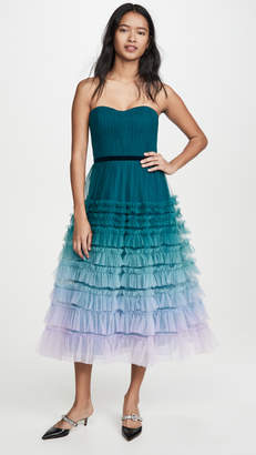 Marchesa Strapless Ombre Tea Length Gown