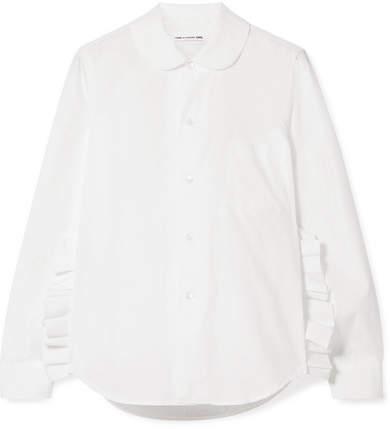 Comme des Garcons Ruffled Cotton-poplin Shirt - White