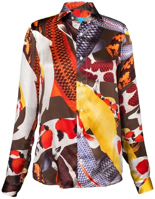 Arlette Ess 'Koi II' Multicolour Unisex Silk Satin Shirt