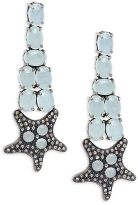 Bavna Black Rhodium-Plated Sterling Silver, Aquamarine Diamond Starfish Drop Earrings