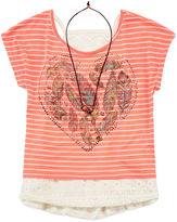 Knitworks Knit Works Beautees 3-pc. Lace Tank Top with Striped Graphic Tee and Necklace - Girls 7-16