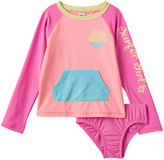 "Osh Kosh Girls 4-6x Long Live Surf"" Colorblock Rashguard & Bottoms Swimsuit Set"