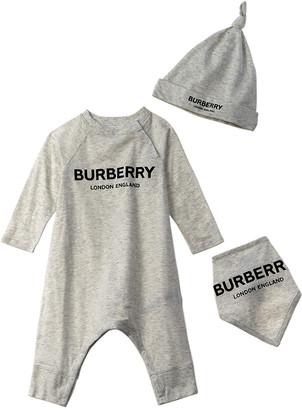 Burberry Logo Print 3Pc Baby Gift Set