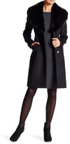 Eliza J Wool Coat with Faux Fur Collar