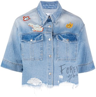 Sjyp Cropped Distressed Hem Denim Jacket