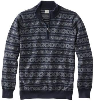 L.L. Bean L.L.Bean Men's Cotton/Cashmere Sweater, Quarter Zip, Fair Isle