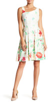 Gabby Skye Floral Printed Asymmetrical Neck Fit & Flare Dress
